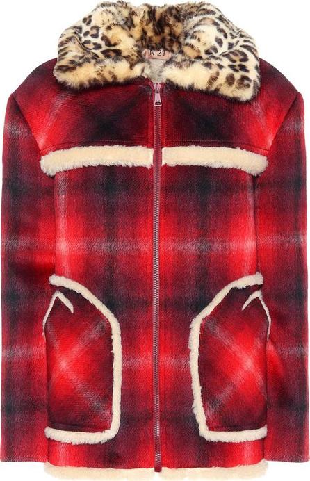 N°21 Faux fur-trimmed wool-blend coat