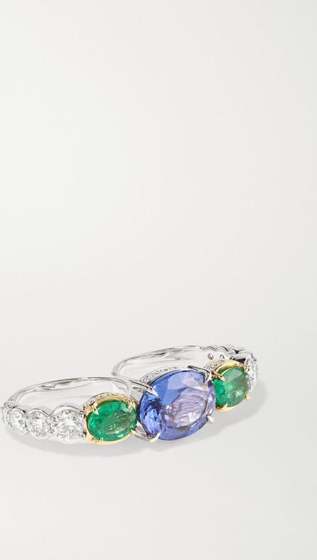Ara Vartanian 18-karat white and yellow gold multi-stone two-finger ring