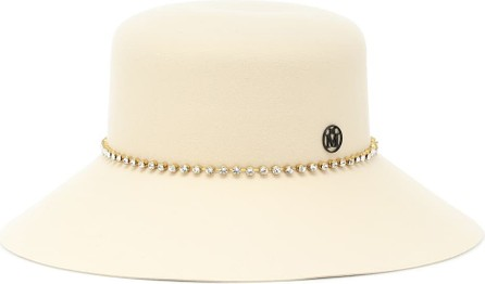 Maison Michel New Kendall embellished wool-felt hat
