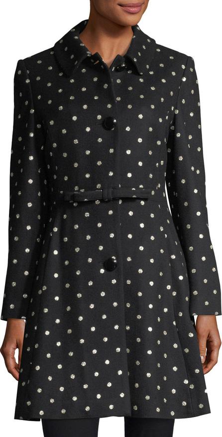 Kate Spade New York three-button glitter-dot swing coat