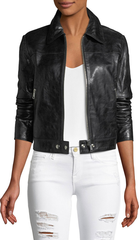 FRAME DENIM Zip-Front Lamb Leather Jacket