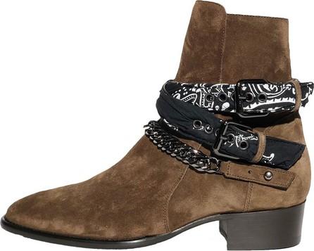 Amiri chocolate brown bandana buckle boots
