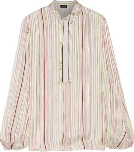 Giambattista Valli Grosgrain-trimmed striped silk-satin shirt
