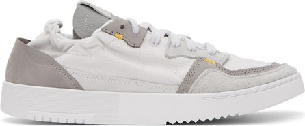 BED J.W. FORD Grey & White adidas Originals Edition Supercourt Low-Top Sneakers