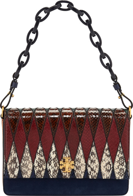 Tory Burch Kira Pieced Exotic Snakeskin Shoulder Bag