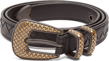 Bottega Veneta Intrecciato skinny leather belt