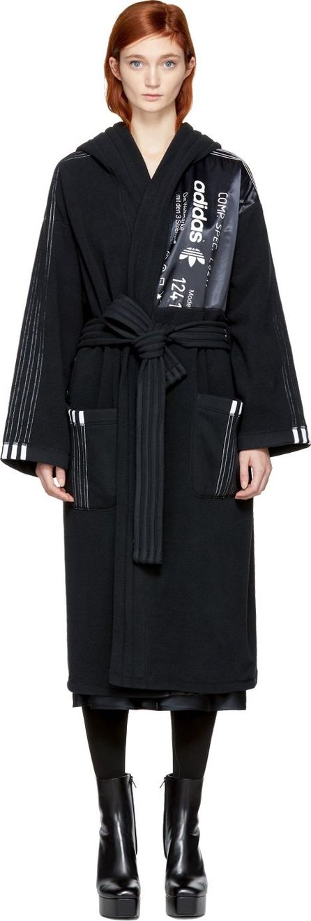 Adidas Originals by Alexander Wang Black Polar Fleece Robe Coat