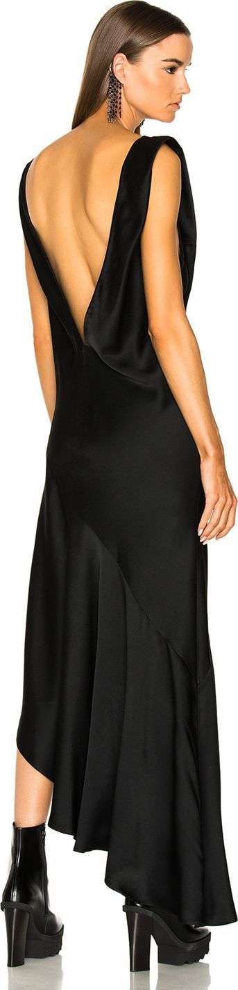 Haider Ackermann Asymmetric Hem V-Neck Dress