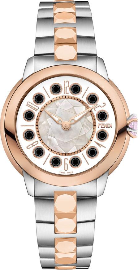 Fendi 38mm IShine Two-Tone Bracelet Watch w/Pink Topaz & Black Spinel