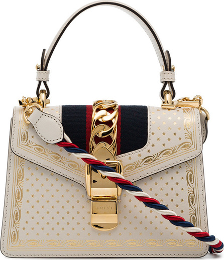 Gucci Beige Sylvie Moon And Stars Leather Bag