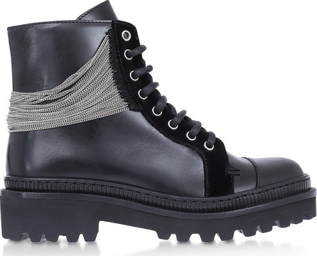 Balmain Black Leather & Chain Ranger Boots