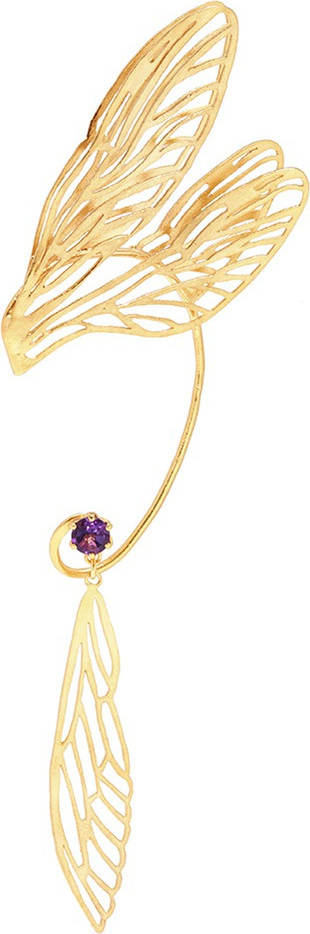 Alex Monroe 'Landed Dragonfly Wing' ear cuff single drop earring