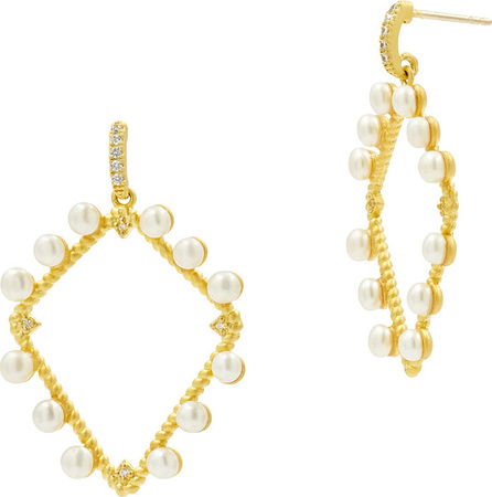 Freida Rothman Textured Pearl Diamond-Drop Earrings