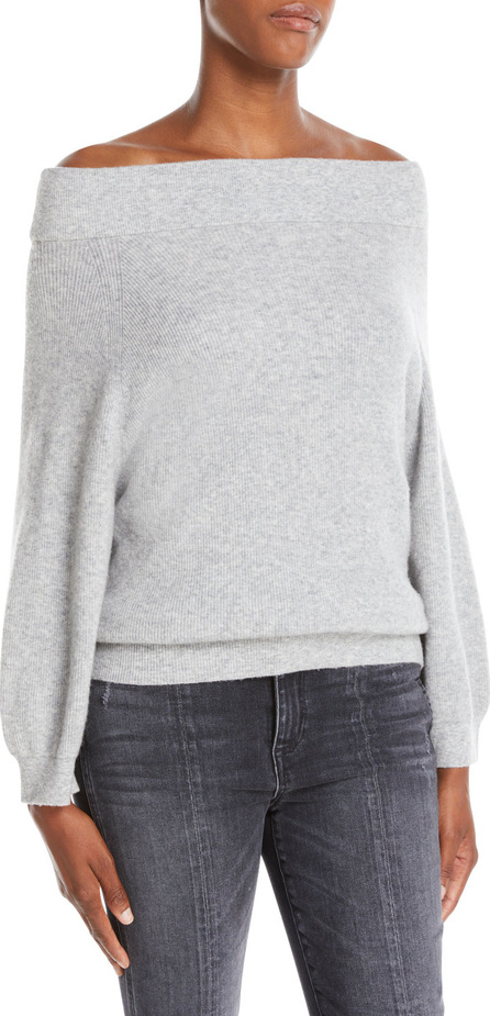 Alice + Olivia Vicka High-Neck Long-Sleeve Ribbed Wool Sweater