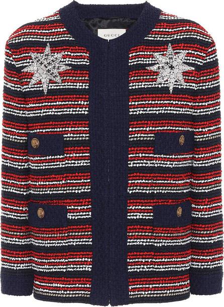 Gucci Embellished striped bouclé jacket