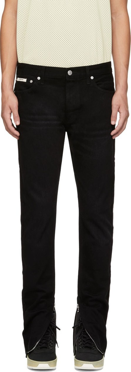 Essentials Black Zip Cuff Jeans
