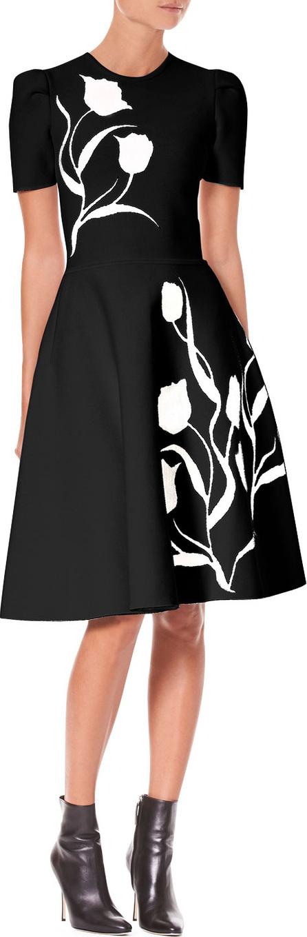 Carolina Herrera Short-Sleeve Tulip-Jacquard Fit-and-Flare Dress