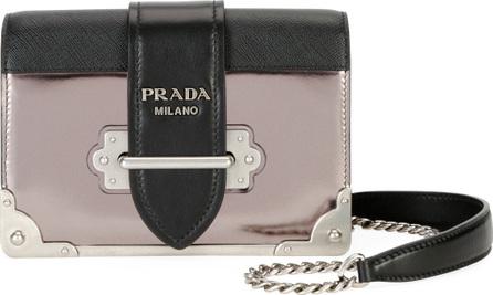 Prada Cahier Small Saffiano/Metallic Calf Shoulder Bag