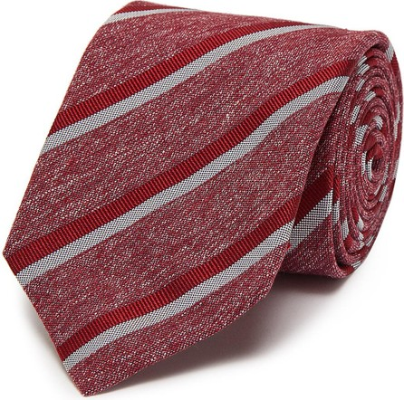 Isaia Bicolour strip jacquard silk tie