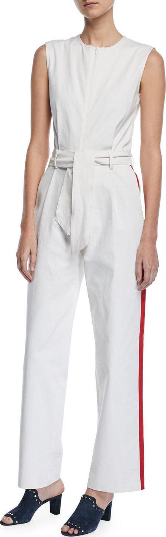Carolina Ritzler Sleeveless Zip-Front Racer-Stripe Belted Cotton Jumpsuit