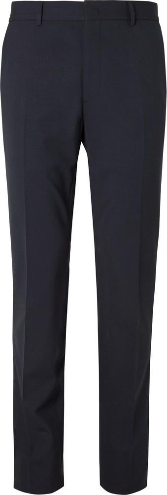 Fendi Navy Logo Jacquard-Trimmed Stretch-Virgin Wool Suit Trousers