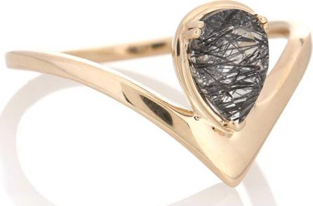 Anna Sheffield Celestine Orbit 14kt gold ring with quartz
