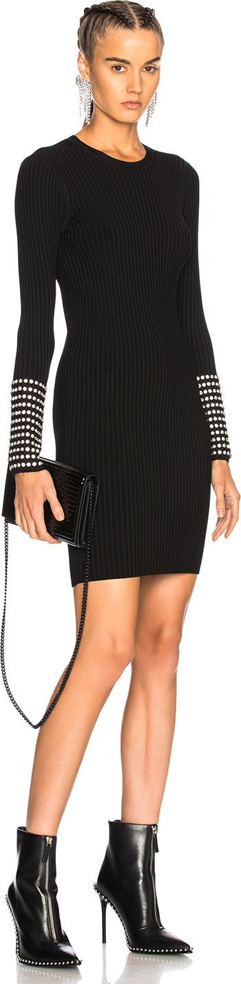 Alexander Wang Long Sleeve Dress with Crystal Cuff Detail
