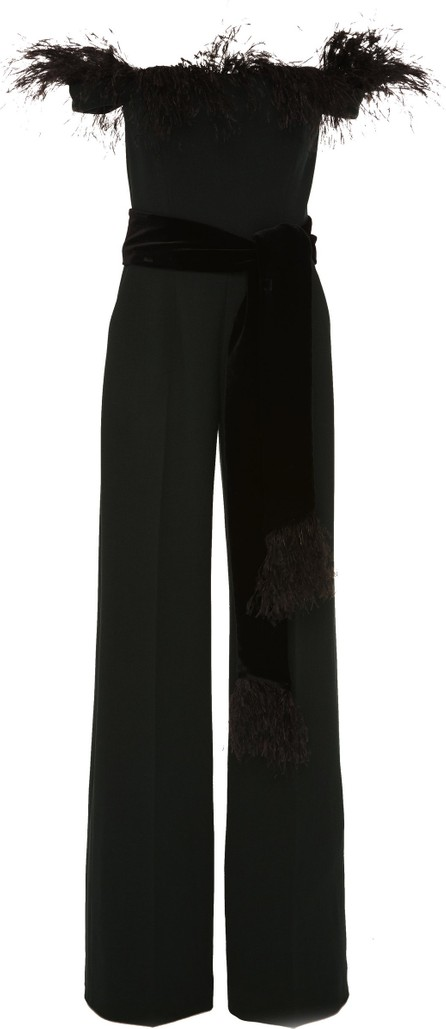 Alexandra Vidal M'O Exclusive Off-The-Shoulder Feather-Embellished Crepe Jumpsuit