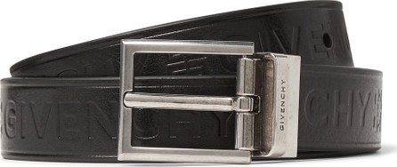 Givenchy 3cm Black Reversible Embossed Smooth and Full-Grain Leather Belt