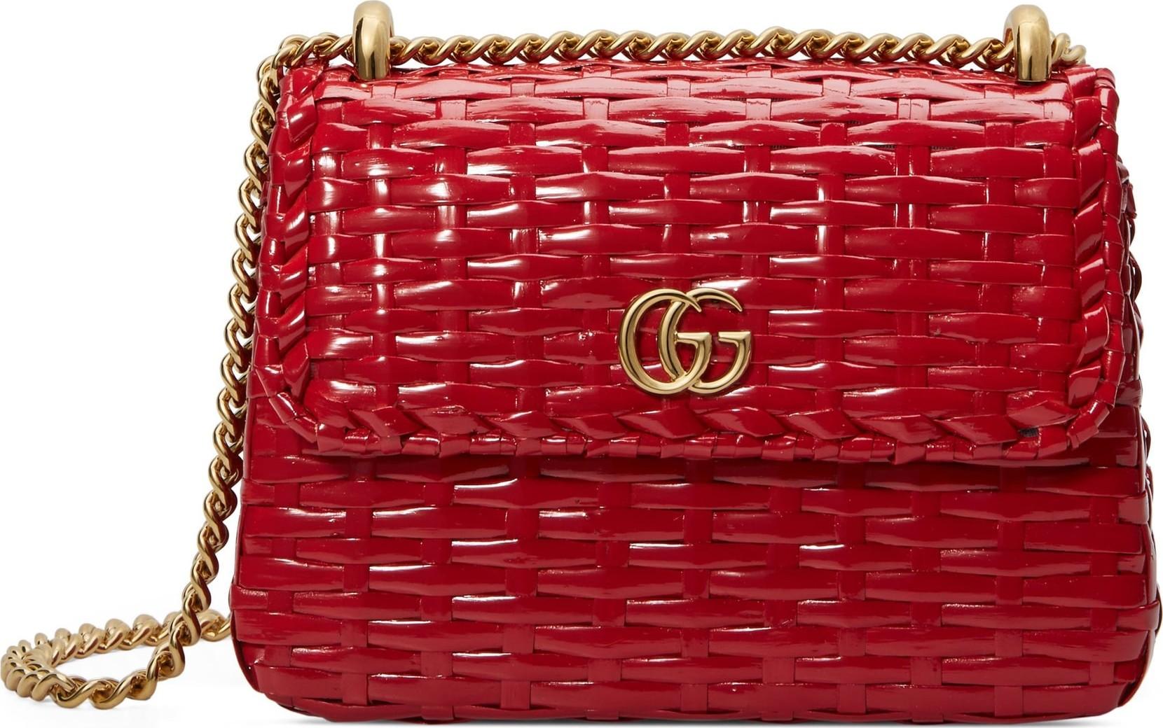 f73128a8664 Gucci Small Linea Cestino Glazed Wicker Shoulder Bag - Mkt