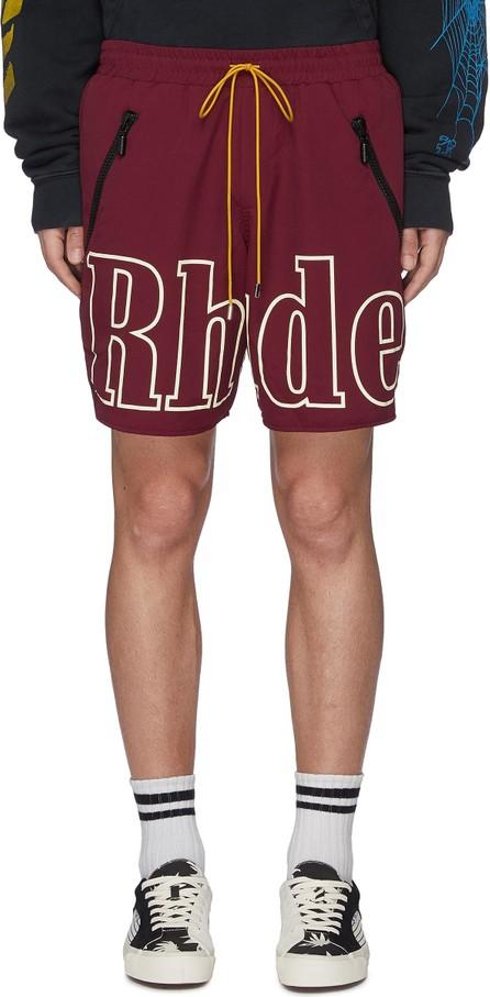 RHUDE Logo print contrast drawstring oversized shorts