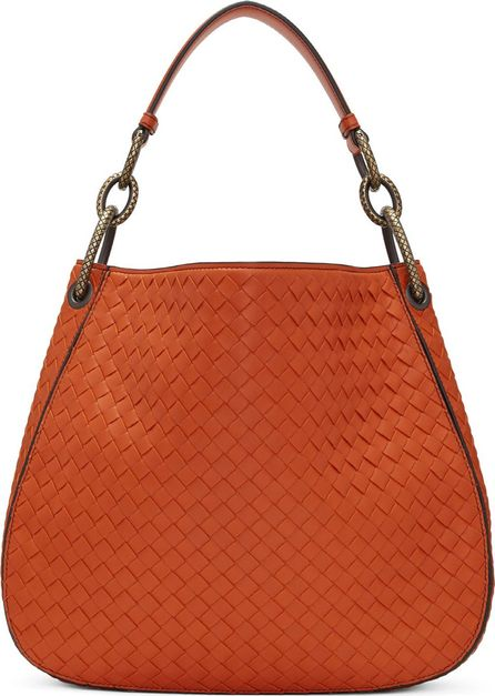 Bottega Veneta Orange Small Intrecciato Hobo Bag