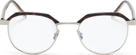 Saint Laurent Metal rim tortoiseshell acetate round optical glasses