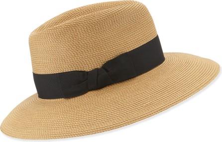 Eric Javits Phoenix Woven Boater Hat  Natural/Black