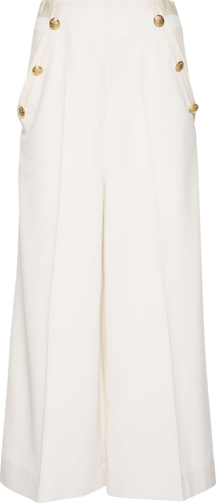 Lanvin Button-Embellished Stretch-Wool Culottes