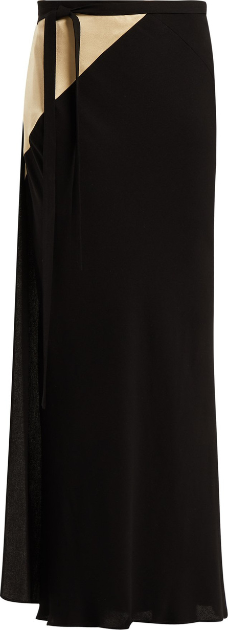 Haider Ackermann Contrast-panel crepe wrap skirt