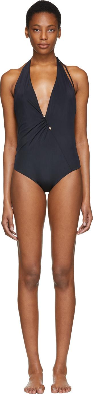 Versace Black Deep V-Neck One-Piece Swimsuit