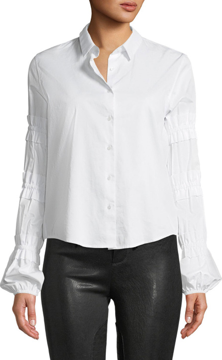 Alexis Andriel Button-Front Ruffle Cotton Shirt