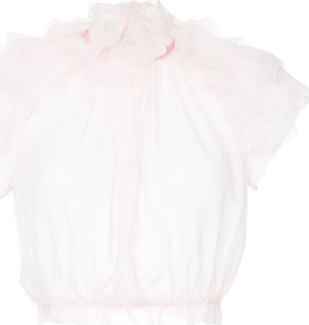 Giambattista Valli Romantic short sleeved fabric applique blouse