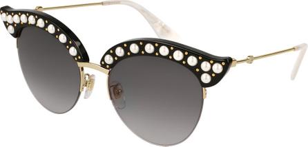 Gucci Semi-Rimless Cat-Eye Sunglasses w/ Pearlescent Bead Trim, Black Pattern