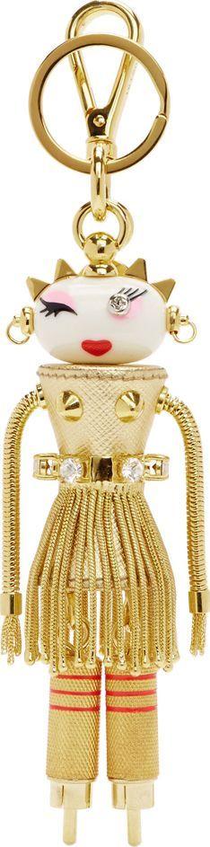 Prada Gold Dahlia Girl Robot Keychain