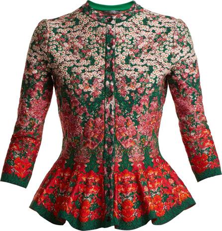 Alexander McQueen Flowerbed jacquard-knit peplum cardigan