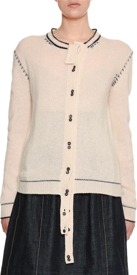 Marni Button-Front Cashmere Cardigan w/ Varsity-Stitch Detail