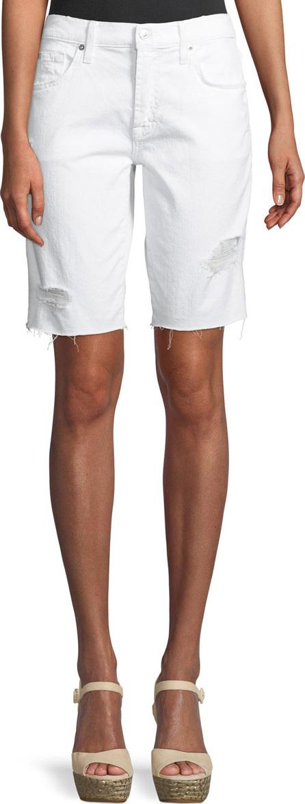 7 For All Mankind High-Waist Raw-Edge Distressed Denim Bermuda Shorts