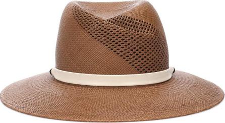 Rag & Bone Zoe leather-trimmed straw hat