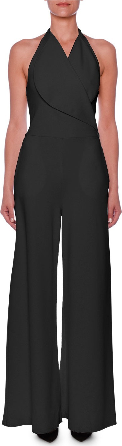 Stella McCartney Sleeveless Portrait-Collar Wide-Leg Jumpsuit