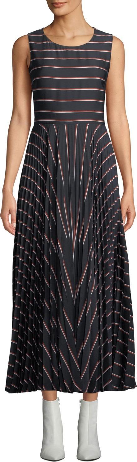 A.L.C. Halle Striped Pleated Open-Back Long Dress