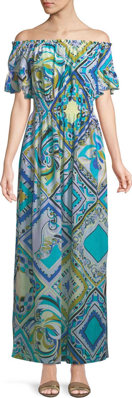 Emilio Pucci Postcards-Printed Cotton/Silk Coverup Maxi Dress