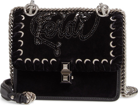 Fendi Small Kan I Velvet Shoulder Bag