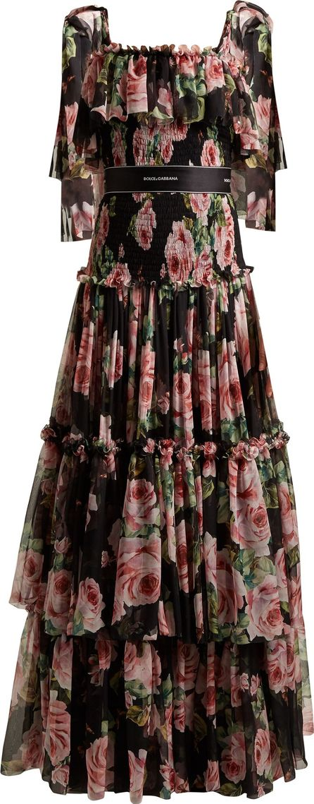 Dolce & Gabbana Rose-print tiered-chiffon gown